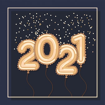 Złote balony w ramach szczęśliwego nowego roku