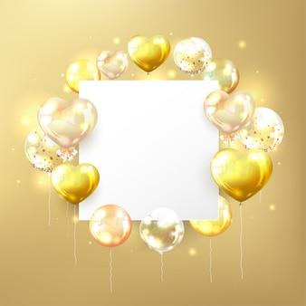 Złote balony z białą kopię miejsca w kształcie kwadratu