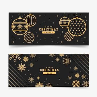 Złote Banery świąteczne Sprzedaż Darmowych Wektorów