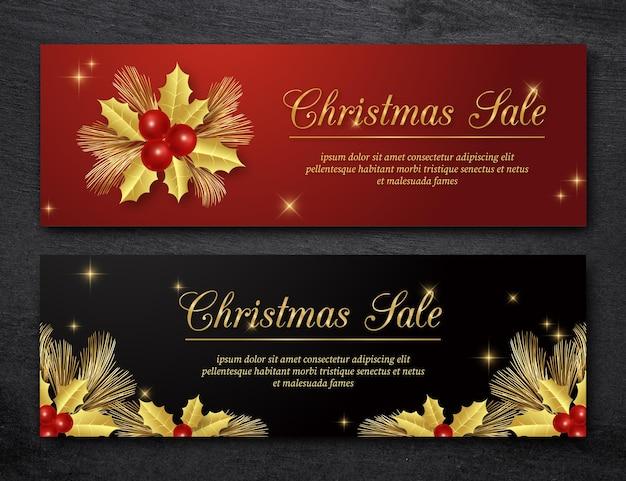 Złote banery świąteczne sprzedaż