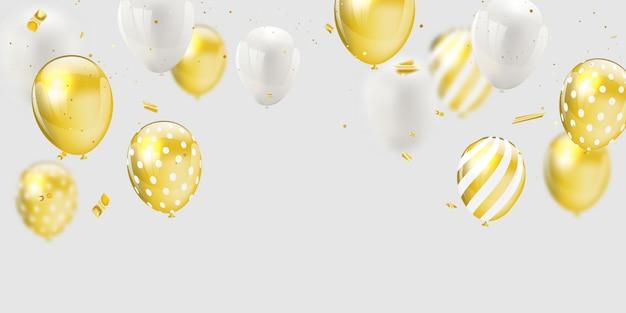 Złote białe balony