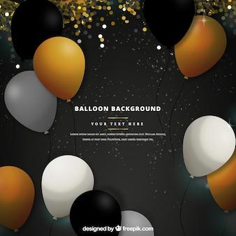 Złote, białe i czarne balony tło, aby świętować
