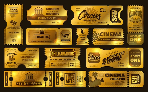 Złote bilety. złoty bilet na przedstawienie cyrkowe, kupon na wieczór filmowy premium i zestaw biletów do teatru. błyszczące kupony. musujące zaproszenia. limitowane bilety. karnet vip, muzeum, orkiestra
