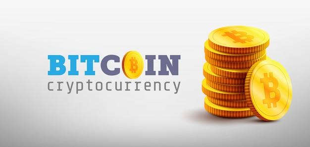 Złote bitcoiny i nowa koncepcja wirtualnych pieniędzy. stos złotych monet z literą ikony b. technologia kopania lub blockchain dla kryptowaluty