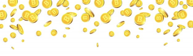 Złote bitcoiny latające nad białe tło realistyczne monety 3d z kryptowaluta znak poziomy baner