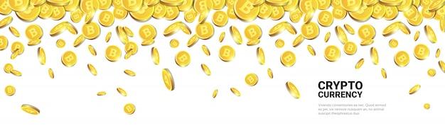 Złote bitcoiny latające nad białym szablonem tła z miejsca kopiowania realistyczne monety 3d z znakiem kryptowaluty