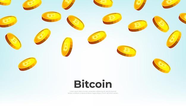 Złote bitcoiny spadające z nieba. tło transparent koncepcja kryptowaluty bitcoin.