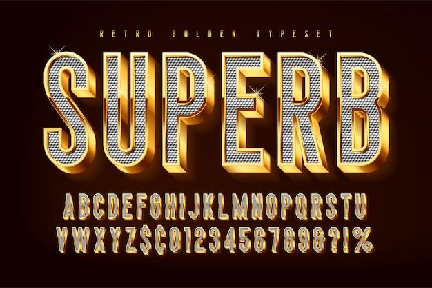 Złote błyszczące czcionki 3d, złote litery i cyfry