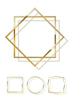 Złote błyszczące ramki z cieniami na białym tle.
