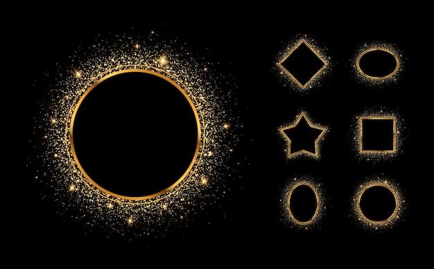 Złote błyszczące świecące ramki z cieniami na czarnym przezroczystym tle