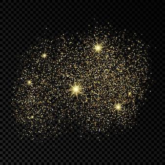 Złote błyszczące tło na ciemnym przezroczystym tle. tło z efektem złotego brokatu i puste miejsce na tekst. ilustracja wektorowa