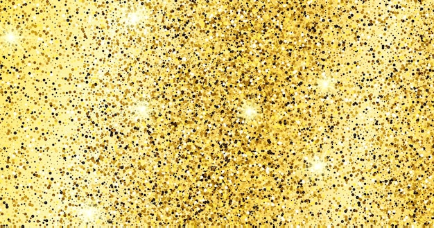 Złote błyszczące tło ze złotymi iskierkami i efektem brokatu. projekt banera. puste miejsce na twój tekst. ilustracja wektorowa