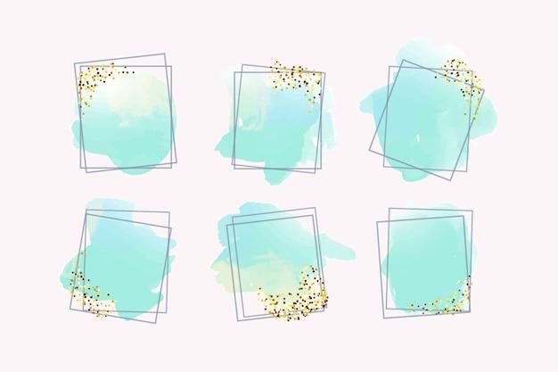 Złote brokat ramki z akwarelą