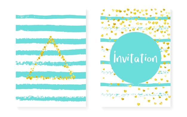 Złote brokatowe karty w kropki, cekiny. zaproszenie na ślub i wesele prysznic z konfetti. tło pionowe paski mięty. kreatywne złote brokatowe karty na imprezę, wydarzenie, zapisz ulotkę z datą