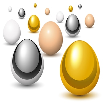 Złote, chromowane i naturalne jajka w perspektywie