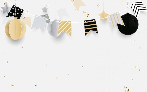 Złote, czarno-białe bombki ze złotą girlandą, brokatowe konfetti na białym tle