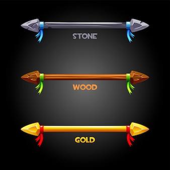 Złote, drewniane, kamienne włócznie ze wstążką do flagi. wektor zestaw ikon starej broni do gry.