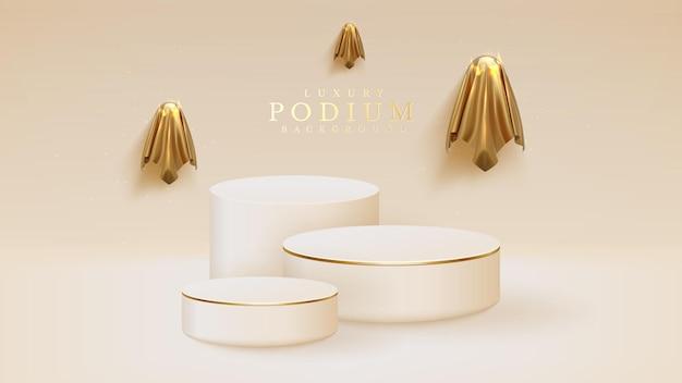 Złote duchy otaczają białe podium, halloweenowe tło dla pokazania produktu. realistyczne 3d ilustracji wektorowych.