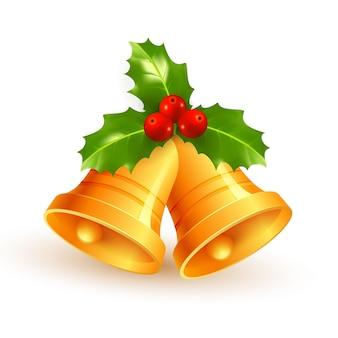 Złote dzwonki świąteczne z zielonymi liśćmi, czerwonymi jagodami i czerwoną kokardą na białym tle eps10