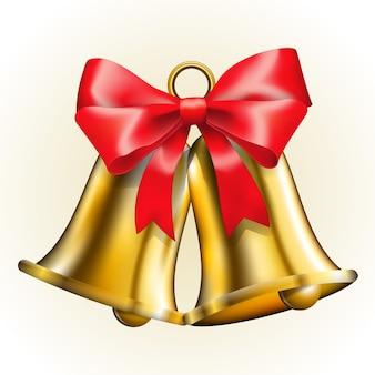 Złote dzwony z czerwoną kokardką
