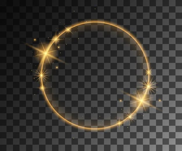 Złote efekty świetlne wektorowe z dekoracją cząstek
