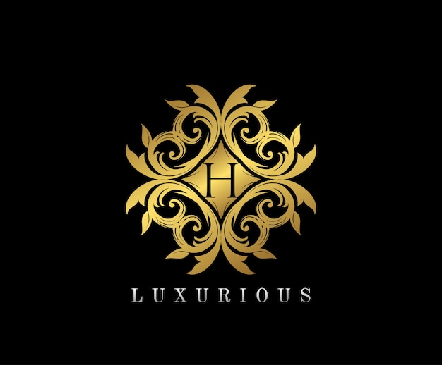 Złote eleganckie logo monogram z literą h.