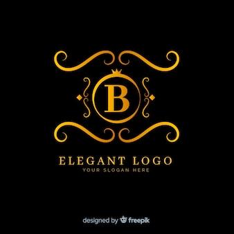 Złote eleganckie logo płaski kształt
