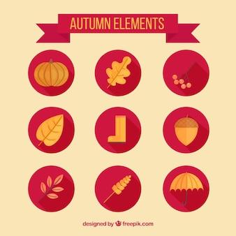 Złote elementy jesiennych w płaskiej konstrukcji