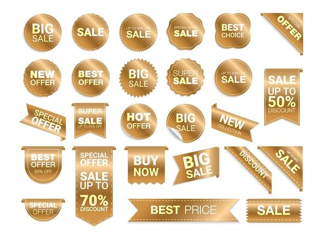 Złote etykiety na białym tle. promocja wyprzedaży, naklejki na stronę internetową, nowa kolekcja znaczków ofertowych. zniżki płaskie odznaki i tagi. tagi najlepszego wyboru.