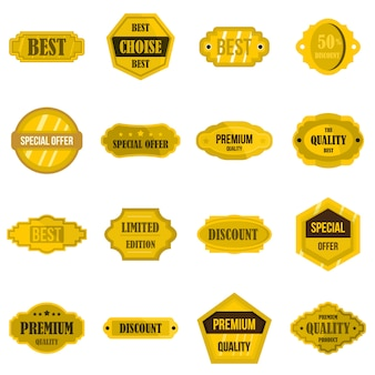 Złote etykiety ustawić płaskie ikony