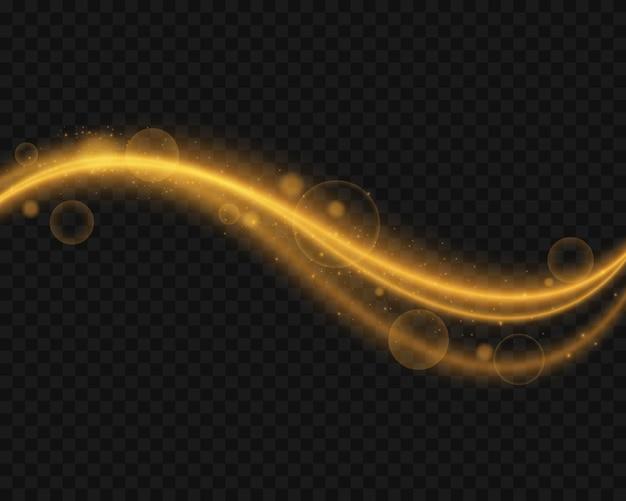 Złote fale. efekty świetlne. musujące ślady światła.