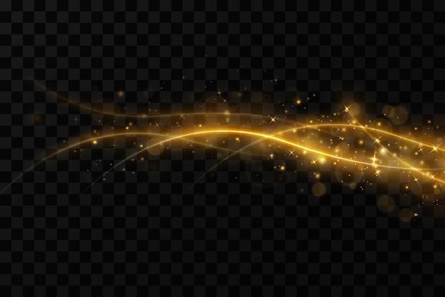 Złote faliste linie świetlne w tledekoracja świąteczna