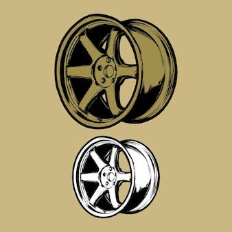 Złote felgi wyścigowe wektor ilustracja logo