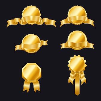 Złote foki ze wstążkami. zestaw wstążek i etykiet. banery złotą wstążką