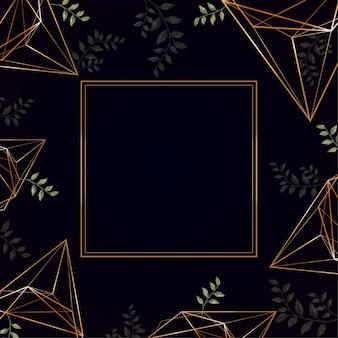 Złote geometryczne ramki na czarnym tle