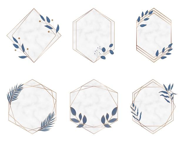 Złote geometryczne wielokątne marmurowe ramki z niebieskimi liśćmi botanicznymi. luksusowe elementy wystroju