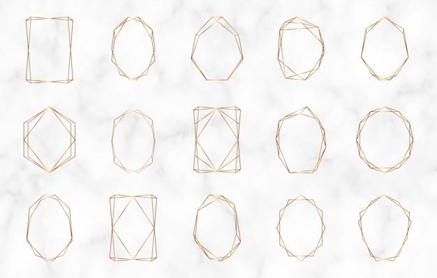 Złote geometryczne wielokątne ramki. luksusowe elementy wystroju