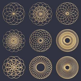 Złote geometryczne wzory kół