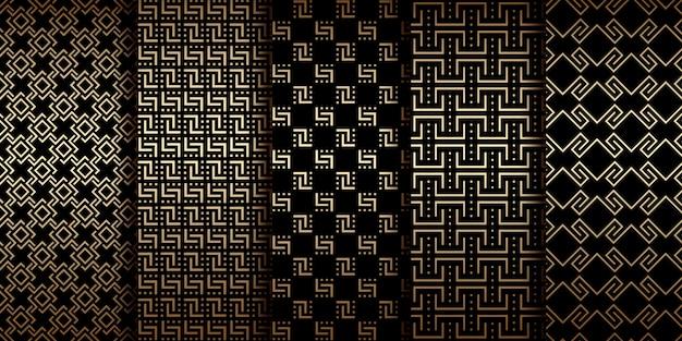 Złote geometryczne wzory w stylu art deco, luksusowe ozdoby