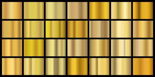 Złote gradienty. błyszcząca metalowa tekstura na baner i tło, żółta metalowa folia mosiężna. wektor realistyczne obramowanie miedzi
