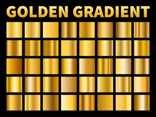 Złote gradienty. złote kwadraty próbki błyszczącego metalu z połyskiem, pusta metaliczna żółta rama, tekstura etykiety. zestaw