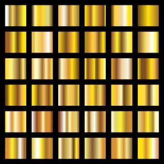 Złote gradienty. złote monety metalowe tekstury wektor tła
