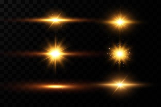 Złote gwiazdy, efekt blasku, świecące światła, słońce.