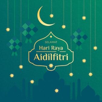 Złote gwiazdy i księżyc hari raya aidilfitri