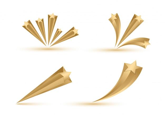 Złote gwiazdy rozrywają elementy. leci złota kometa.
