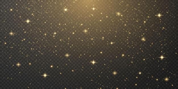 Złote gwiazdy spadają, lśniące gwiazdy latają po nocnym niebie.