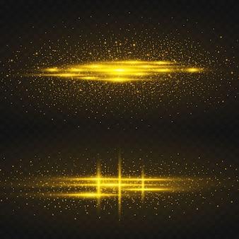 Złote gwiazdy świecą na czarnym tle.