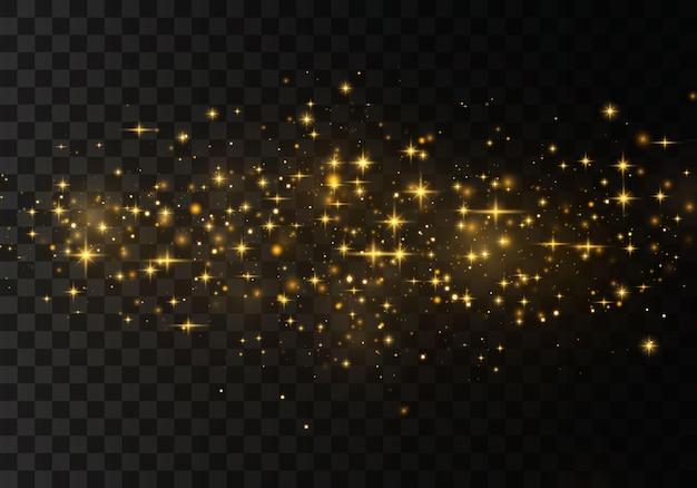 Złote gwiazdy świecą specjalnym światłem. lśniące magiczne cząsteczki kurzu.