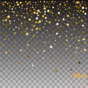 Złote gwiazdy tło wakacje, spadająca złota gwiazda świeci na przezroczystym tle.