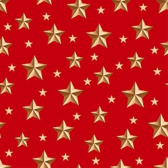 Złote gwiazdy wzór na czerwono.